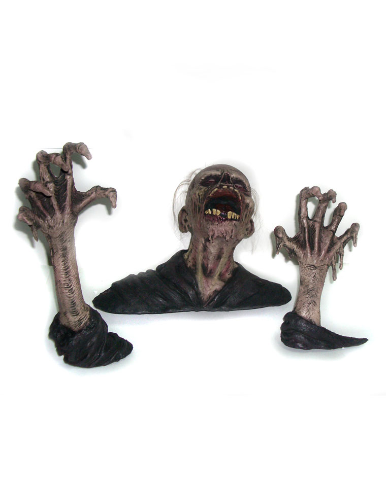 3 Piece Latex Lawn Zombie Ground Breaker Prop