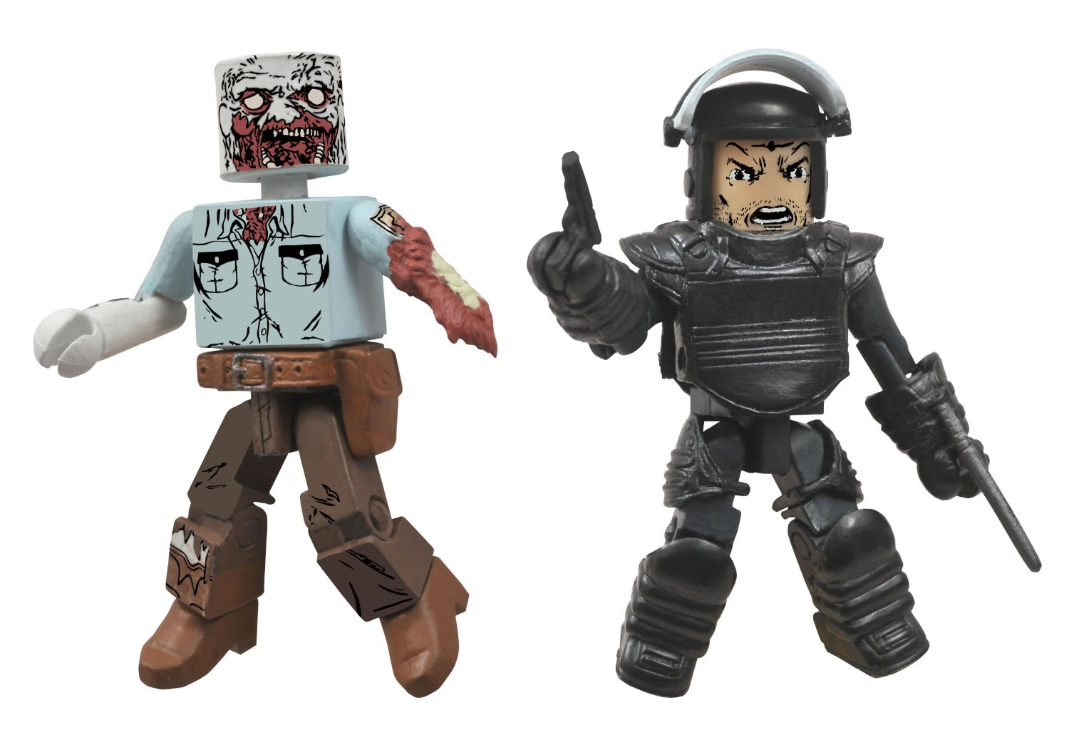 Walking Dead Minimates Riot Gear Rick and Guard Zombie