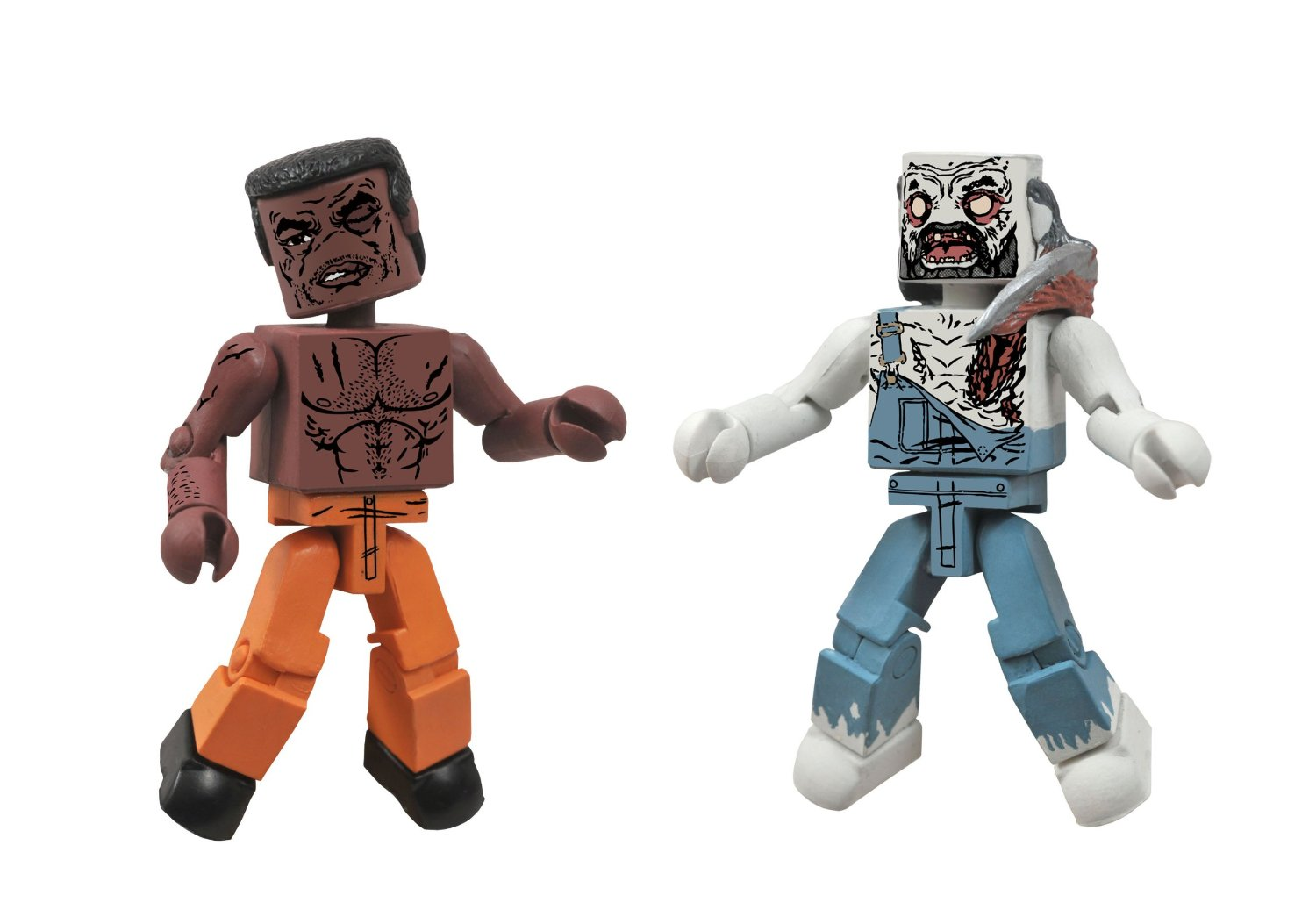 Walking Dead Minimates Tyreese and Farmer Zombie
