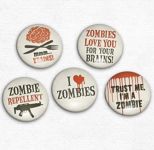 Zombie Stickers, Buttons, & Magnets