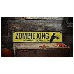 Custom Zombie Crossing City State Sign - Rustic Hand Made Halloween Wooden - 7.25 x 36 Inches