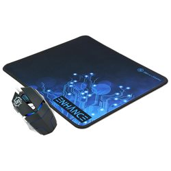 Computer Gaming Bundle with Wired Optical Mouse and XL Low-Friction Mouse Pad by ENHANCE