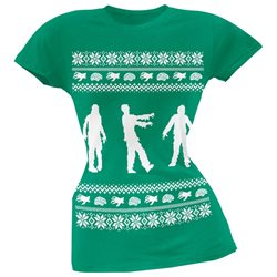 Zombie Ugly Christmas Sweater Green Soft Juniors T-Shirt