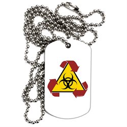 TooLoud Recycle Biohazard Sign Adult Dog Tag Chain Necklace