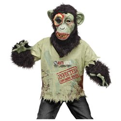 Kids Boys Scary Zombie Chimpanzee Chimp Halloween Costume