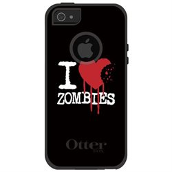 CUSTOM White OtterBox Commuter Series Case (77-22167) for Apple iPhone 5 / 5S / SE - I Heart Zombies