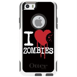 CUSTOM White OtterBox Commuter Series Case (77-50318) for Apple iPhone 6 Plus / 6S Plus - 5.5 Screen - I Heart Zombies