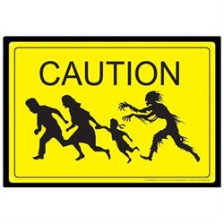 Tin Sign - Caution Zombies Metal Plate New Licensed Gift Toys 30059