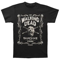 Walking Dead Men's Survive Or Die T-shirt X-Large Black
