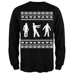 Zombie Ugly Christmas Sweater Black Adult Long Sleeve T-Shirt - 2XL