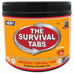 Survival Tabs 7-day food Supply - Survival Bugout Emergency Food Replacement - Strawberry Flavor (90 tabs)