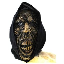 Zombie Fleshless Man Mask with Removable Black Hood