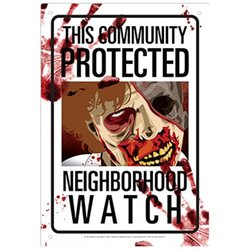 Tin Sign - Neighborhood Watch - Zombies Metal Plate New Licensed 30148
