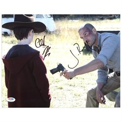 Jon Bernthal & Chandler Riggs The Walking Dead Signed 11X14 Photo PSA #Z90253