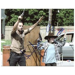 Andrew Lincoln & Chandler Riggs The Walking Dead Signed 11X14 Photo PSA #Z89204
