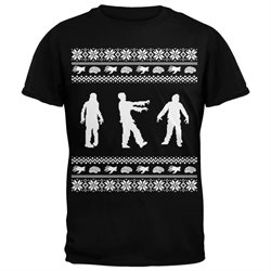 Zombie Ugly Christmas Sweater Black Adult T-Shirt
