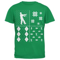 Zombies Festive Blocks Ugly Christmas Sweater Green Adult T-Shirt