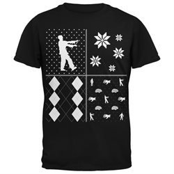 Zombies Festive Blocks Ugly Christmas Sweater Black Adult T-Shirt