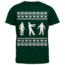 Zombie Ugly Christmas Sweater Green Adult T-Shirt