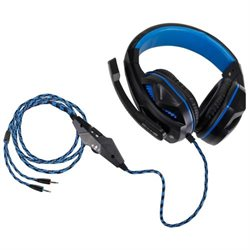 Enhance ENGXH20100BKEW Headset - Stereo - Black, Blue - Mini-phone - Wired - Over-the-head - Binaural - Circumaural - 8.17 ft Cable