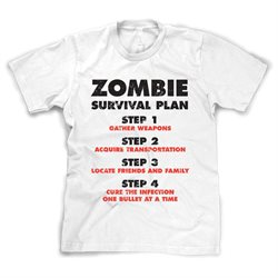Youth Zombie Survival Plan T Shirt Funny Zombie Attack Shirts for kids