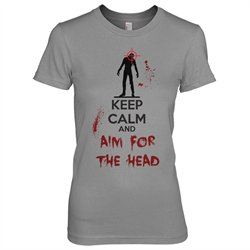 Keep Calm And Aim For The Head T Shirt Funny Zombie Shirts For Women