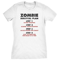 Womens Zombie Survival Plan T-Shirt Funny Zombie Attack Shirts