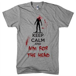 Keep Calm And Aim For The Head T Shirt Funny Zombie Shirts