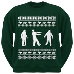 Zombie Ugly Christmas Sweater Dark Green Adult Crew Neck Sweatshirt