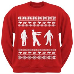 Zombie Ugly Christmas Sweater Red Adult Crew Neck Sweatshirt