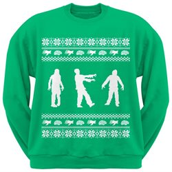 Zombie Ugly Christmas Sweater Green Adult Crew Neck Sweatshirt