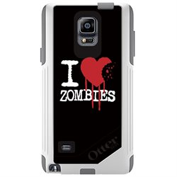 CUSTOM White OtterBox Commuter Series Case (77-50470) for Samsung Galaxy Note 4 - I Heart Zombies