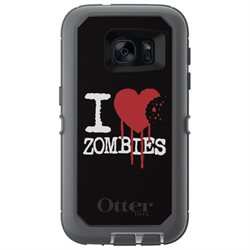 CUSTOM Grey OtterBox Defender Series Case (77-52910) for Samsung Galaxy S7 - I Heart Zombies