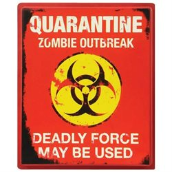 Quarantine Zombie Outbreak 19x16 Halloween Decoration Sign