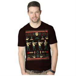 Zombie Ugly Christmas Sweater T Shirt Funny Holiday Tee BROWN