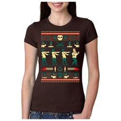 Womens Zombie Ugly Christmas Sweater T Shirt Funny Holiday Tee BROWN