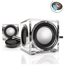 SonaVERSE CRS 2.0 USB Powered Ice Cube Computer Speaker Set with Dual Drivers and Volume Control