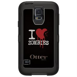 CUSTOM Black OtterBox Defender Series Case (77-38796) for Samsung Galaxy S5 - I Heart Zombies