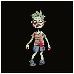 Family Car Stickers 4.4 inches tall Vinyl Auto Decal, Zombie Toddler Boy / Boy Kid