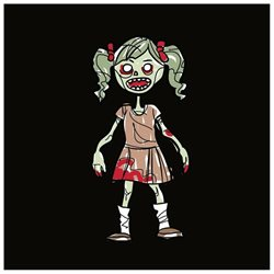Family Car Stickers 4 inches tall Vinyl Auto Decal, Zombie Toddler Girl / Girl Kid