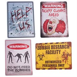 Creepy Haunted House Signs Set Zombie Research Facility Scary Clowns & More