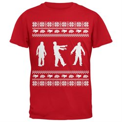 Zombie Ugly Christmas Sweater Red Adult T-Shirt
