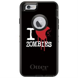 CUSTOM Black OtterBox Defender Series Case (77-50206) for Apple iPhone 6 / 6S - 4.7 Screen - I Heart Zombies