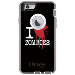 CUSTOM Grey OtterBox Defender Series Case (77-51471) for Apple iPhone 6 Plus / 6S Plus - 5.5 Screen - I Heart Zombies