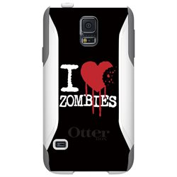 CUSTOM White OtterBox Commuter Series Case (77-39176) for Samsung Galaxy S5 - I Heart Zombies