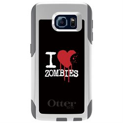 CUSTOM White OtterBox Commuter Series Case (77-51203) for Samsung Galaxy S6 - I Heart Zombies