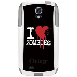 CUSTOM White OtterBox Commuter Series Case (77-27606) for Samsung Galaxy S4 - I Heart Zombies