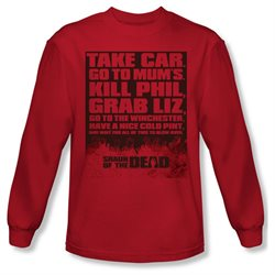 Shaun Of The Dead Simon Pegg Zombie Comedy Movie List Adult Long Sleeve T-Shirt