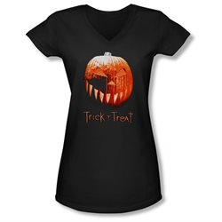Trick 'R Treat Horror Zombie Comedy Movie Pumpkin Juniors V-Neck T-Shirt Tee
