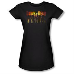 Dawn Of The Dead Sci-Fi Zombie Movie Walking Dead Juniors Sheer T-Shirt Tee